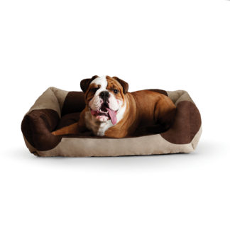 "K&H Pet Products Classy Lounger Pet Bed Large Tan / Chocolate 28"" x 32"""