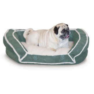 "K&H Pet Products Deluxe Bolster Couch Pet Bed Small Green 21"" x 30"" x 7"""