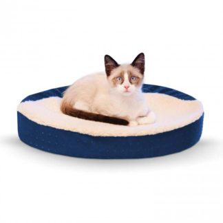 "K&H Pet Products Ultra Memory Foam Oval Pet Cuddle Nest Blue 13"" x 19"" x 4"""