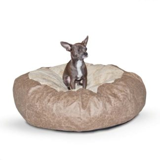 "K&H Pet Products Self Warming Cuddle Ball Pet Bed Small Tan 28"" x 28"" x 10"""