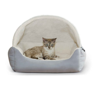 """K&H Pet Products Lounge Sleeper Hooded Pet Bed Gray 20"""" x 25"""" x 13"""""""