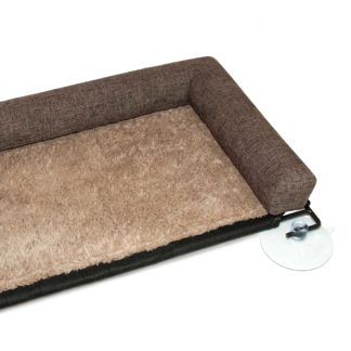 "K&H Pet Products EZ Mount Kitty Sill Deluxe with Bolster Brown 12"" x 23"" x 2.5"""