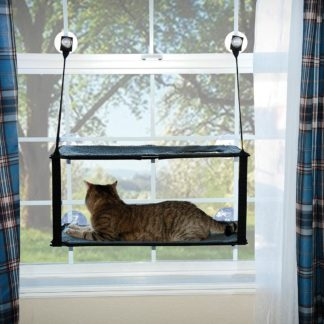 "K&H Pet Products Kitty Sill - Double Stack EZ Window Mount Gray / Black 12"" x 23"" x 0.5"""