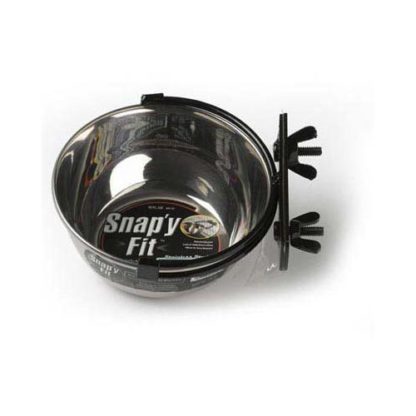 """Midwest Stainless Steel Snap'y Fit Water and Feed Bowl 10 oz Stainless Steel 5"""" x 5"""" x 2"""""""