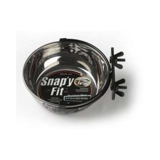 "Midwest Stainless Steel Snap'y Fit Water and Feed Bowl 20 oz Stainless Steel 6"" x 6"" x 2.5"""