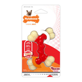Nylabone Power Chew Double Bone Bacon Chew Toy Petite