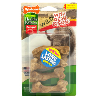 Nylabone Healthy Edibles Wild Chew Treats Bison Small 4 count