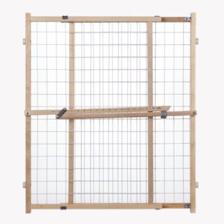 "North States Wide Wire Mesh Pet Gate White, Wood 29.5"" - 50"" x 32"""