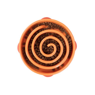 "Outward Hound Fun Feeder Slo-Bowl Swirl Small Orange 8"" x 8"" x 2.25"""