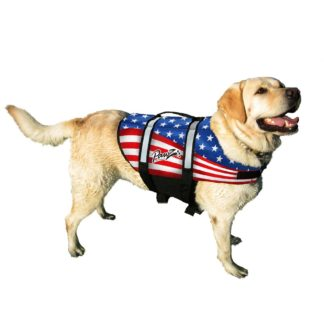 Pawz Pet Products Nylon Dog Life Jacket Medium Flag