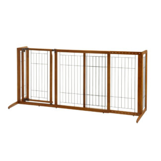 "Richell Deluxe Freestanding Pet Gate with Door Medium Brown 61.8 - 90.2"" x 24"" x 28.1"""
