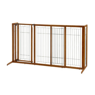 "Richell Deluxe Freestanding Pet Gate with Door Large Brown 61.8"" - 90.2"" x 27"" x 36.2"""