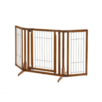 "Richell Premium Plus Freestanding Pet Gate with Door Brown 34"" - 63"" x 20.5"" - 26"" x 32"""