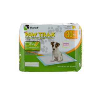 "Richell Paw Trax Pet Training Pads 30 Count White 17.7"" x 23.6"" x 0.2"""