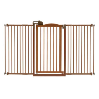 "Richell One-Touch Tall and Wide Pressure Mounted Pet Gate II Brown 32.1"" - 62.8"" x 2"" x 38.4"""